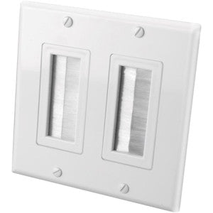 Vanco Decor Style Brush Bulk Cable Wall Plate (2 gang)