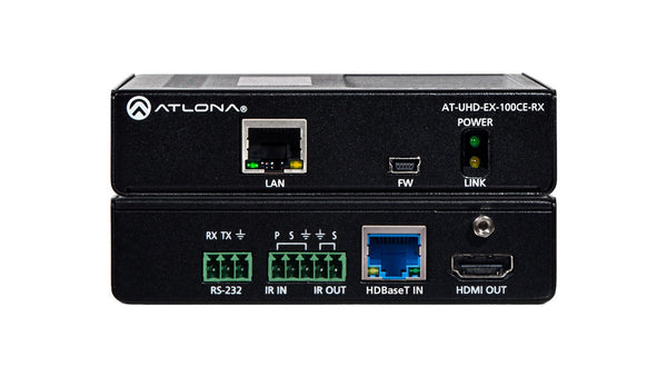 Atlona AT-UHD-EX-100CE-RX HDMI Receiver w/IR, RS-232, and Ethernet with PoE.