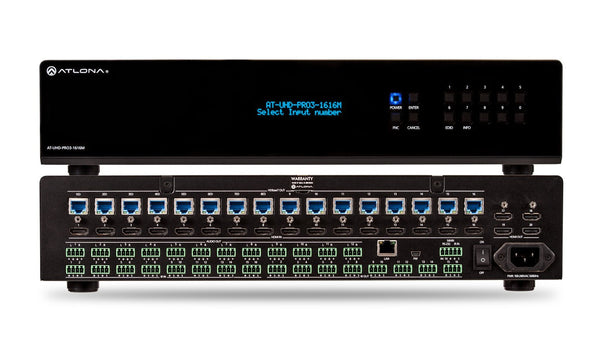 Atlona AT-UHD-PRO3-1616M 4K/UHD Dual-Distance 16x16 HDMI to HDBaseT Matrix Switcher with PoE