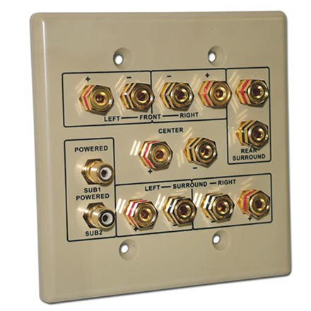 Choice Select Dual Gang 6.2 Home Theater Connection Wall Plate, ivory