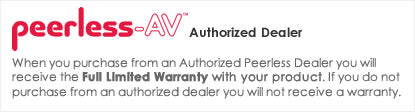 iElectronics is an Authorized Peerless-AV Dealer - All products come with a manufacturer warranty