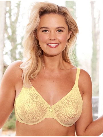 851205 Halo Lace Underwire Bra PALE YELLOW