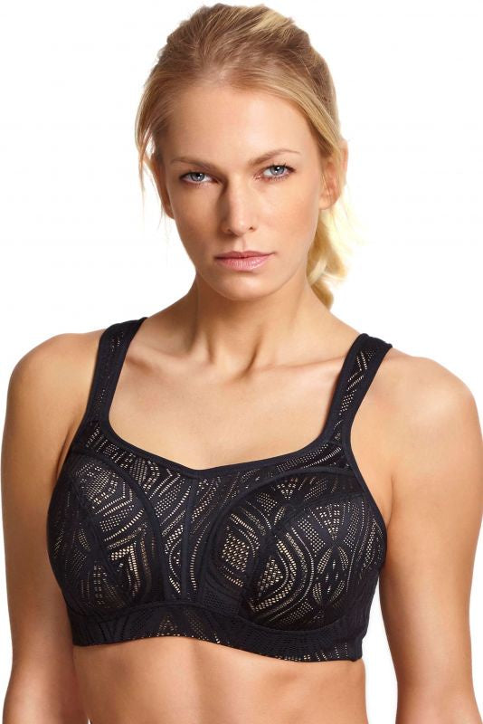 5021C Lace Wired Sports Bra |BLACK/LATTE|