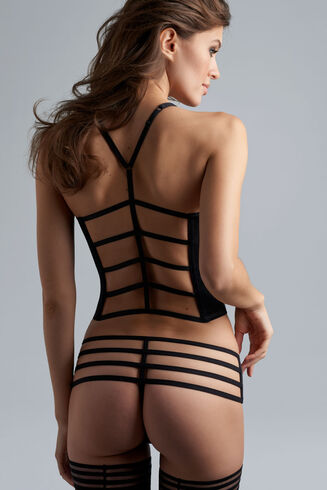 16803 Leading Strings Plunge Corset |STRICTLY BLACK|