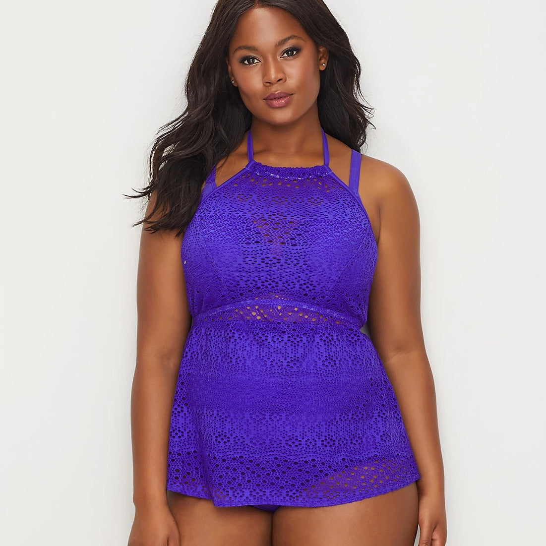 ELMS7531 Indie Crochet High Neck Swim Cover Up