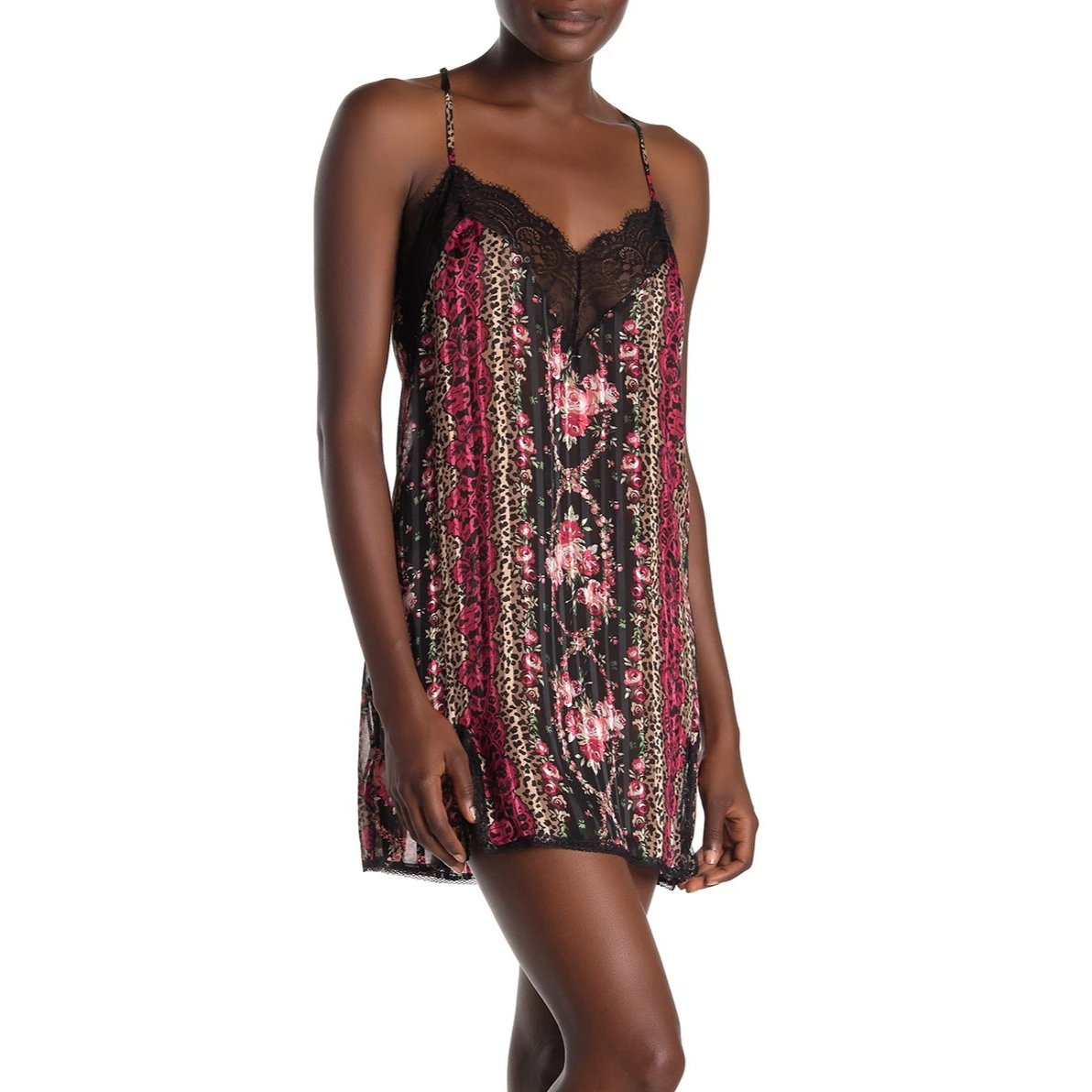 RCR110 Sheer Floral and Leopard Print Chemise