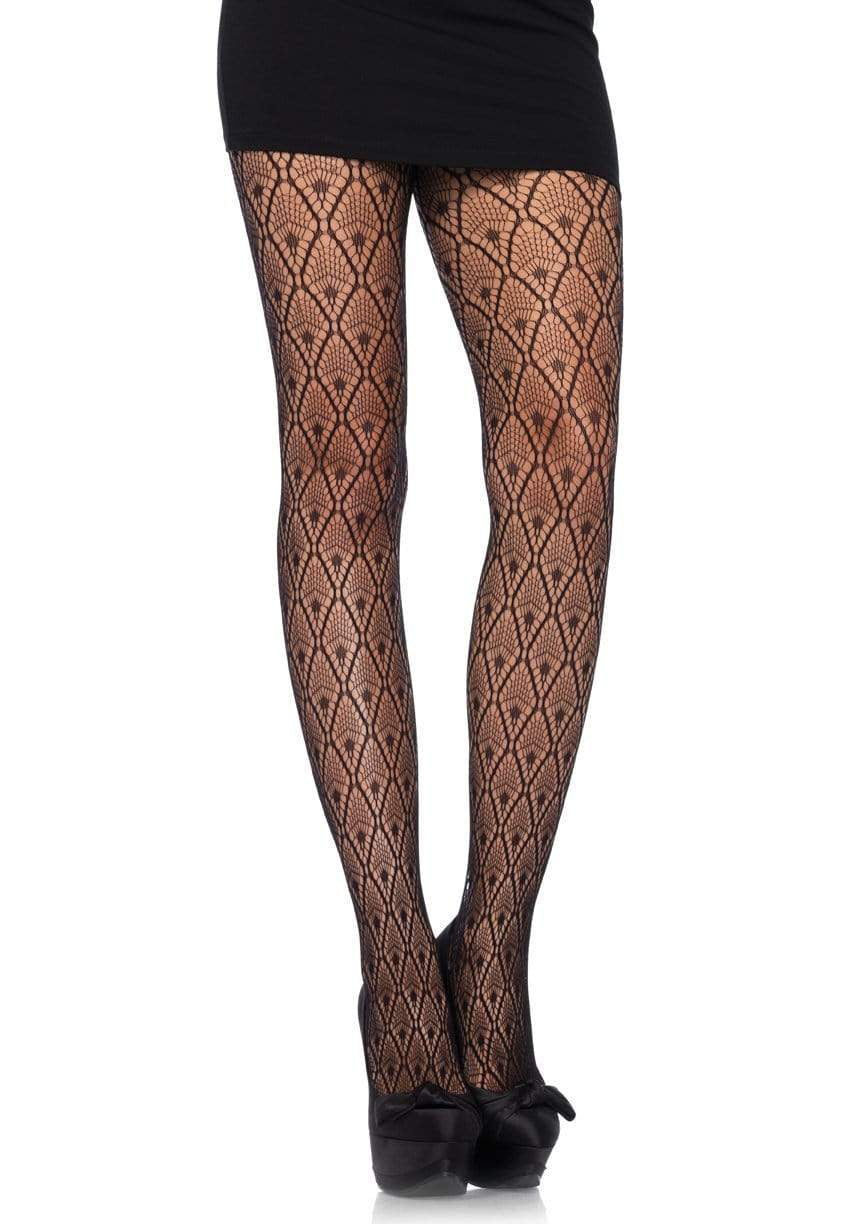 9325 Deco Lace Tights |BLACK|