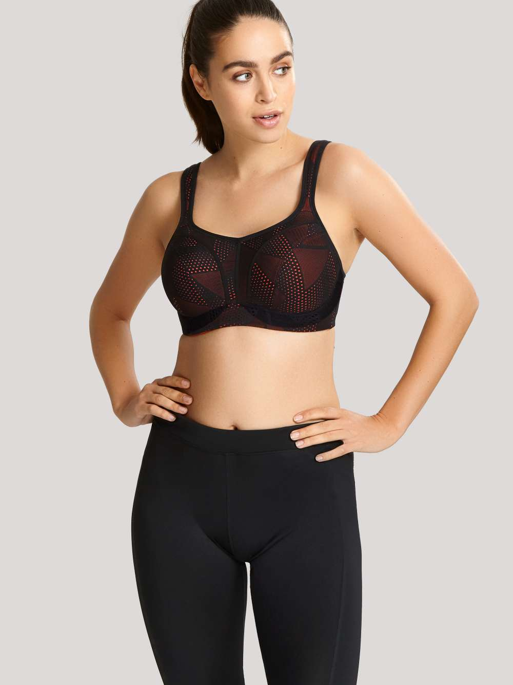 5021C Lace Wired Sports Bra |BLACK/CORAL|