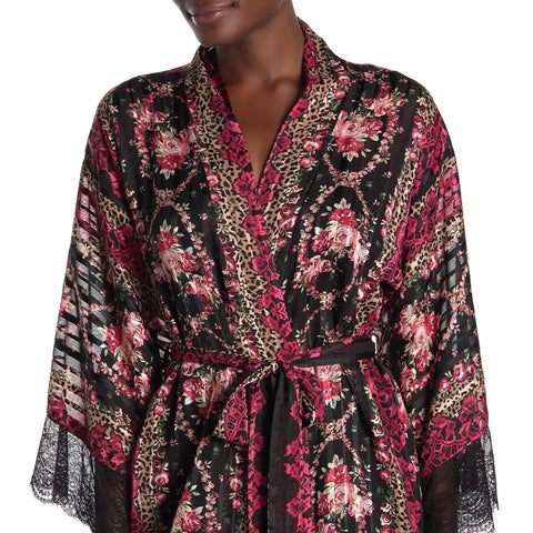 RCR130 Sheer Floral and Leopard Print Robe