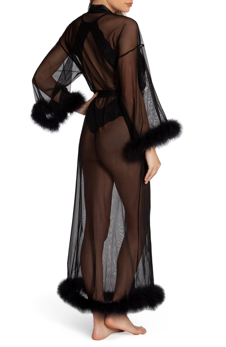 MGC035 Black Sheer Robe with Feather Trim