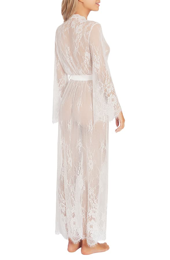 DIA035 Dahlia Lace Long Wrap Robe |IVORY|
