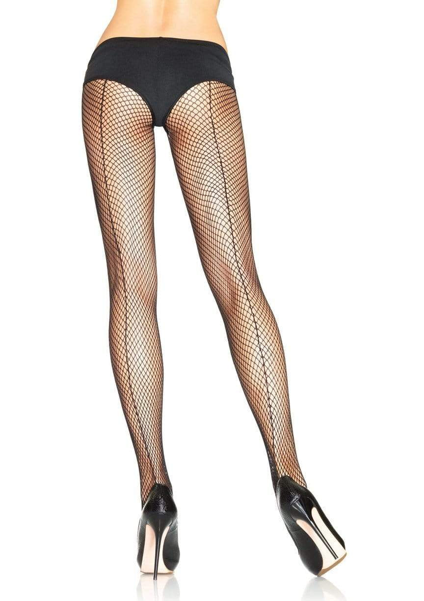 9015Q Plus Size Backseam Fishnet Pantyhose |BLACK|