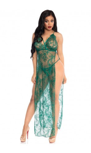 86118 2 Piece Dual Slit Lace Gown and Panty Set |GREEN|