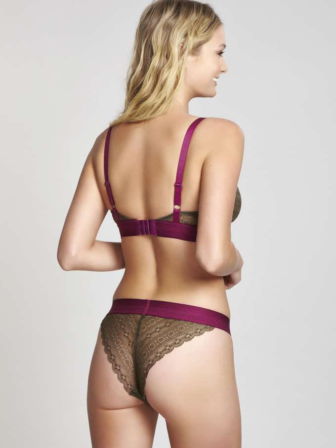9766 Lyzy Triangle Bra |KHAKI/WINE|