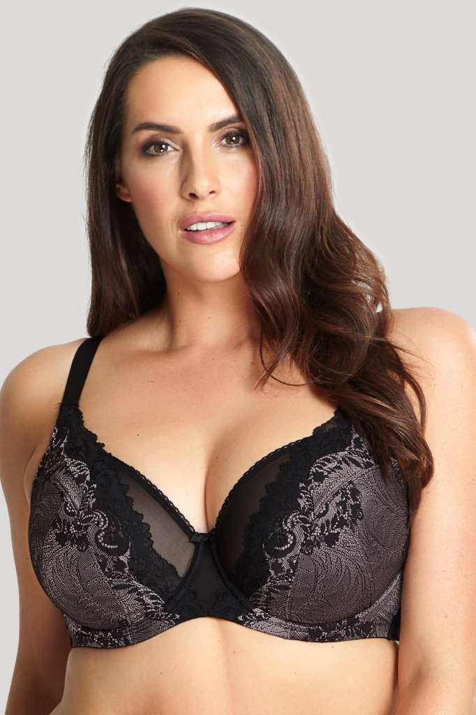 9941 Katya High Apex Balconnet Bra |BLACK/PINK|
