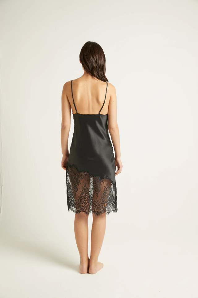 GML301 Silk Chemise with Lace |BLACK ONYX|