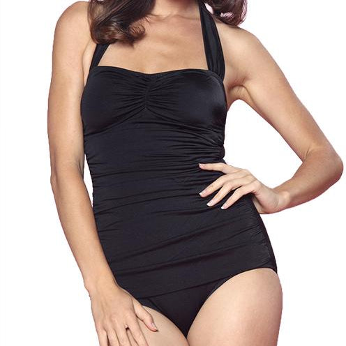 E11001 Esther Williams Solid Classic Sheath Bathing Suit Swim Pin Up One Piece