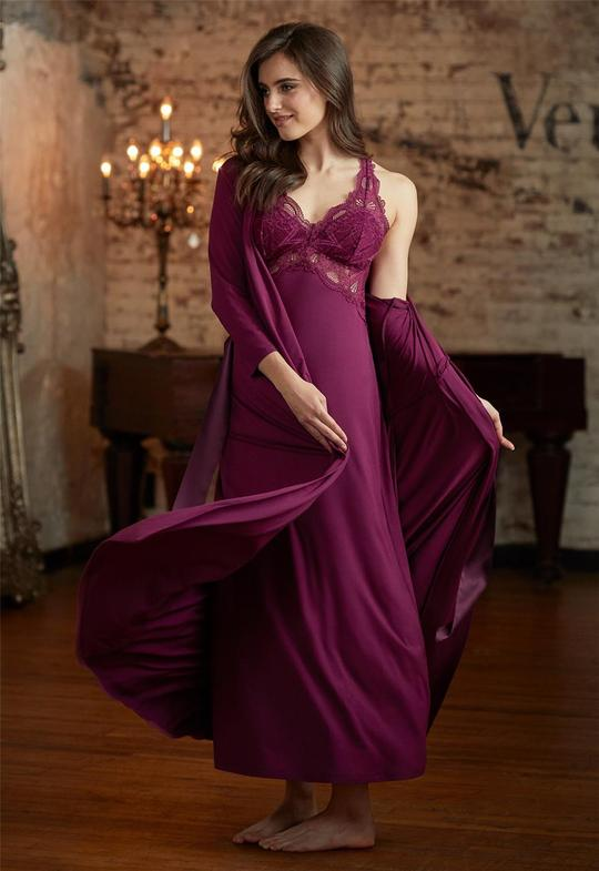 633 Lace T-Back Gown |ROYAL PLUM|