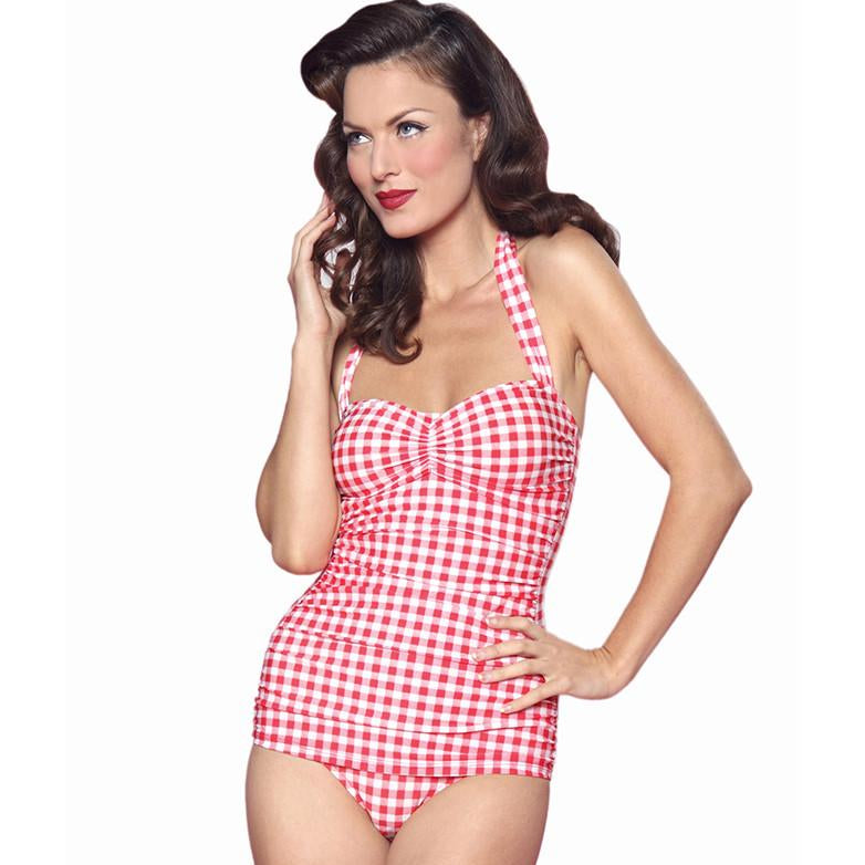 E11082 Esther Williams Gingham Classic Sheath Bathing Suit Swim Pin Up One Piece
