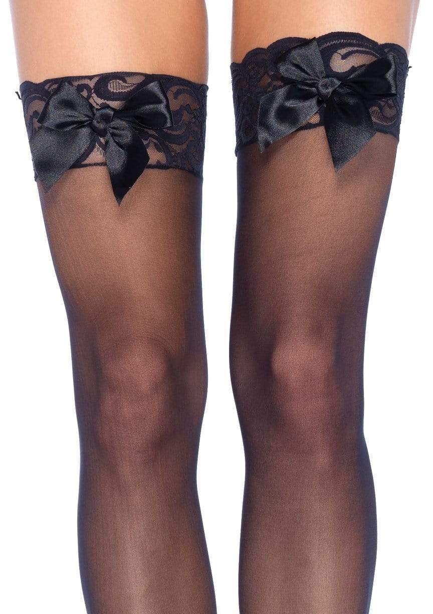 1912 Sheer Top Thigh High With Satin Bow