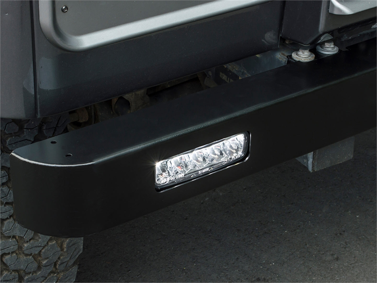 Defender Front Bumper with Integrated Ring LED Lights - Douglass Motors