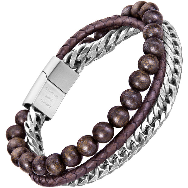 Mens Steel Leather Bracelet, Stone Bead and Leather Bracelet for Men - murtoo2
