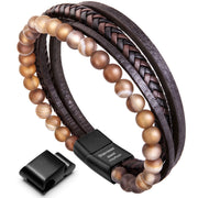 Leather Bracelet For Men magnetic cowhide braided Multi-Layer wrap mens bracelet, 7.1''-8.7'' - murtoo2