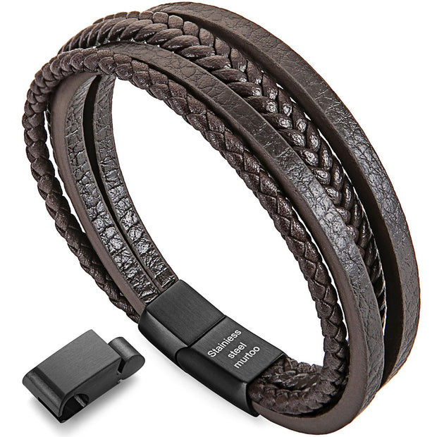 Womens Bracelets Braided Leather For Women Multilayer Genuine Leather Bracelet - murtoo2