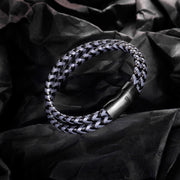 Mens Bracelet Leather Braided, Brown and Black Leather Bracelet for Men - murtoo2