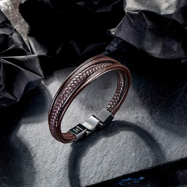 Womens Bracelets Braided Leather, Multilayer Genuine Leather Bracelet for Women - murtoo2