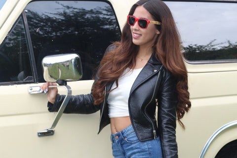 girl in black leather jacket red sunglasses