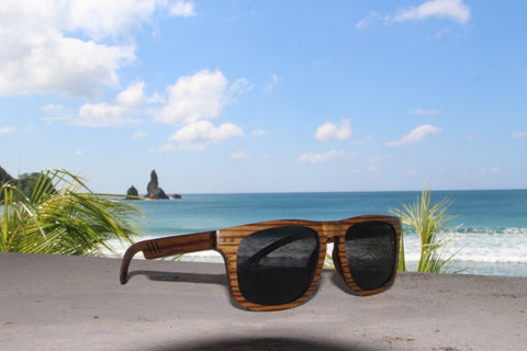 wooden sunglasses and the beach