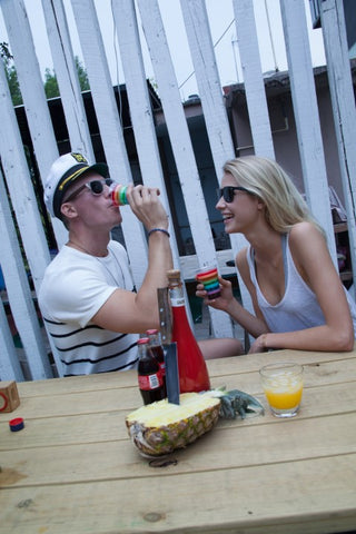 couple having a great time drinking