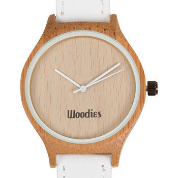 Woodies bamboo watch white