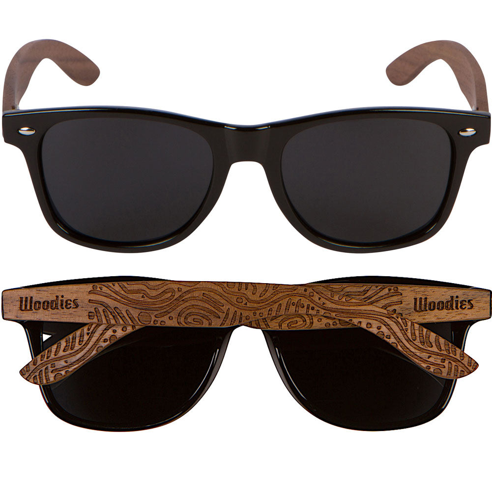 Walnut Wood Polarized Sunglasses with Hippie Engraving