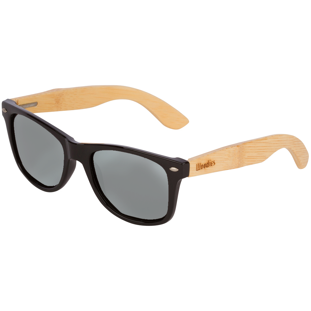 Bamboo Wood Sunglasses with Silver Mirror Polarized Lens
