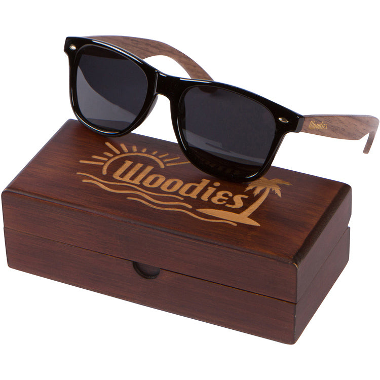 Walnut Wood Sunglasses with Polarized Lens in Wood Display Box for Men or Women