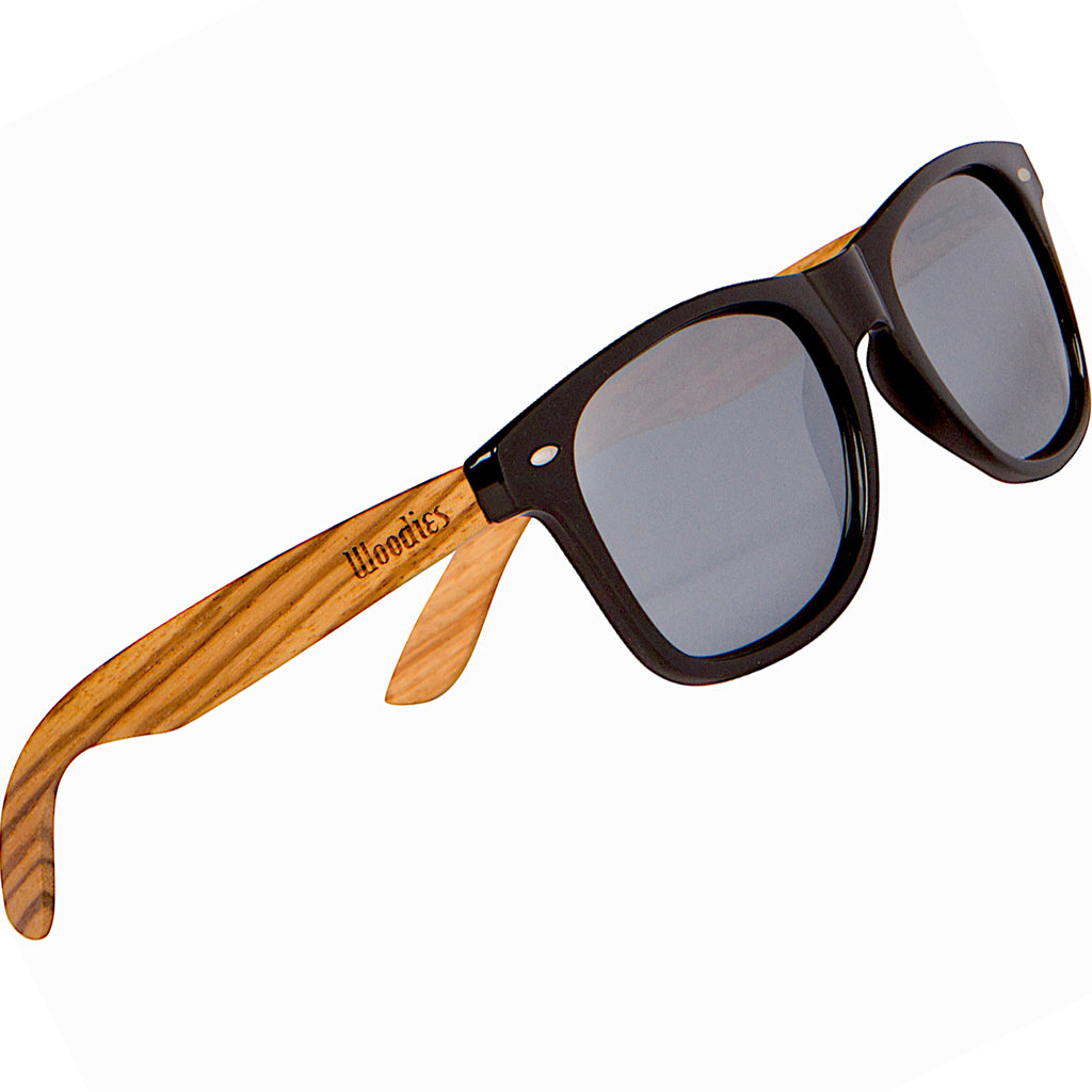Zebra Wood Sunglasses with Silver Mirror Polarized Lens