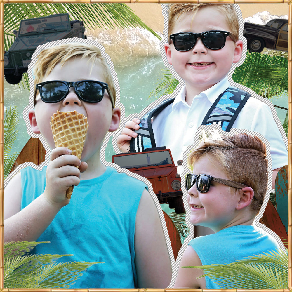 Walnut Wood Sunglasses for Kids with Polarized Lenses