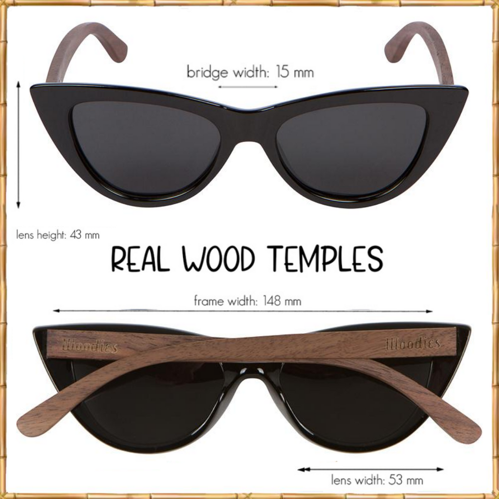 Cat Eye Sunglasses Polarized Lenses Made from Real Walnut Wood (Black)