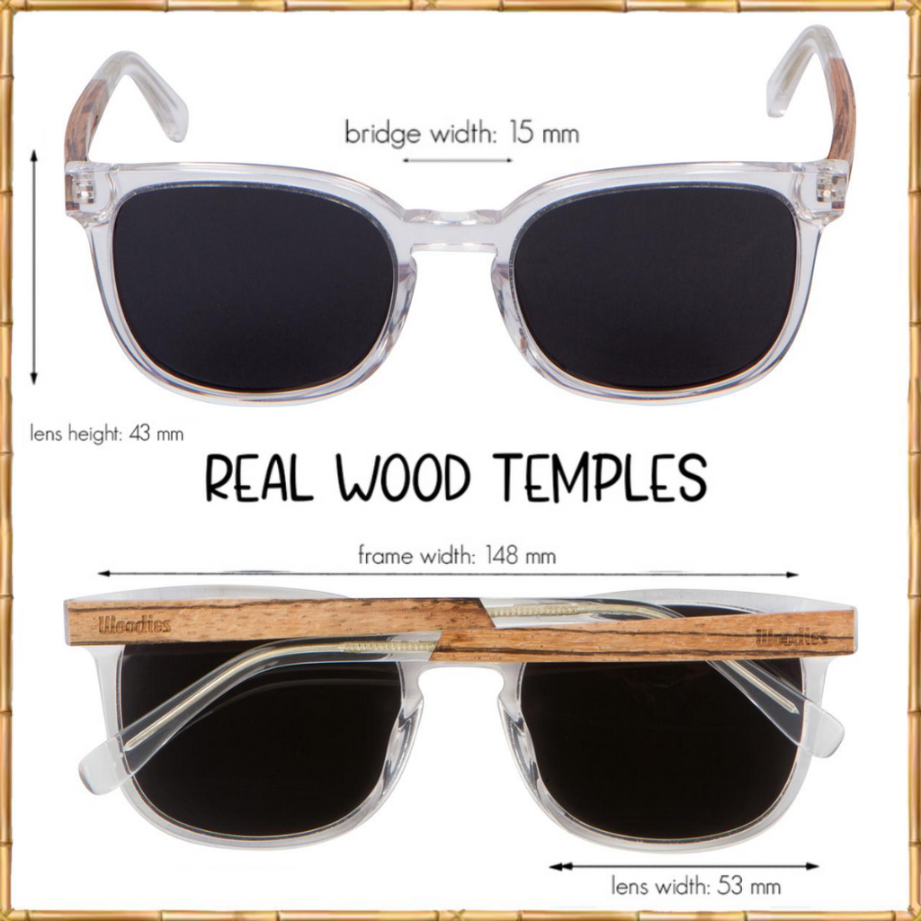 WOODIES Clear Acetate Sunglasses with Polarized Lens in Wood Display Box