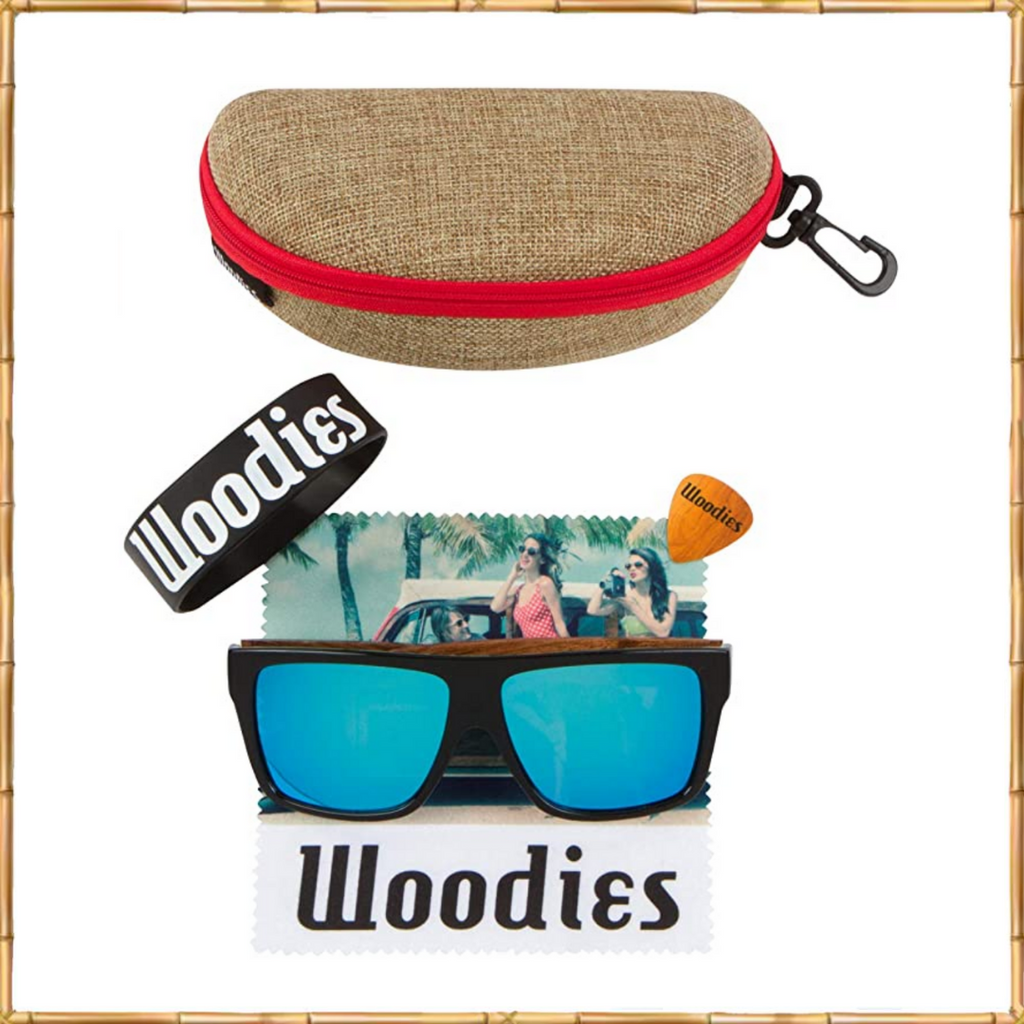 Woodies Zebra Wood Sunglasses with Ice Blue Mirror