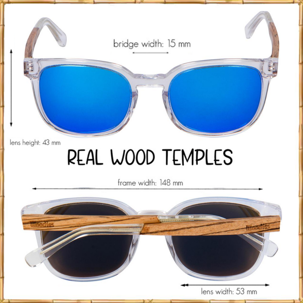 Clear Acetate Sunglasses with Polarized Lens in Wood Display Box (Royal Blue)
