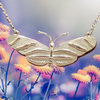 Avery Sterling Silver Zebra Long Wing  Butterfly Necklace