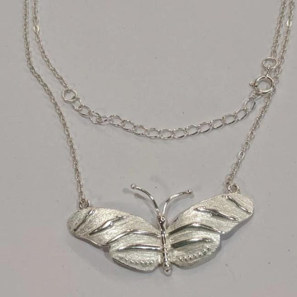 Avery Sterling Silver Zebra Long Wing  Butterfly Necklace - Nature Reflections