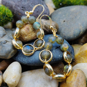 Blossom Labradoite and Brass Dangle Earrings