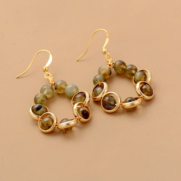 Blossom Labradoite and Brass Dangle Earrings - Nature Reflections
