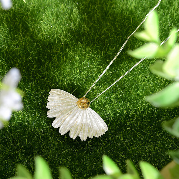 Daisy Coneflower Sterling Silver Pendant - Nature Reflections