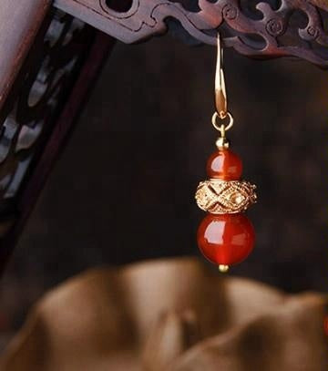 Elsa Red Agate Drop Earrings - Nature Reflections