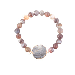 Emma Agate and Shell Agate Bracelet - Nature Reflections